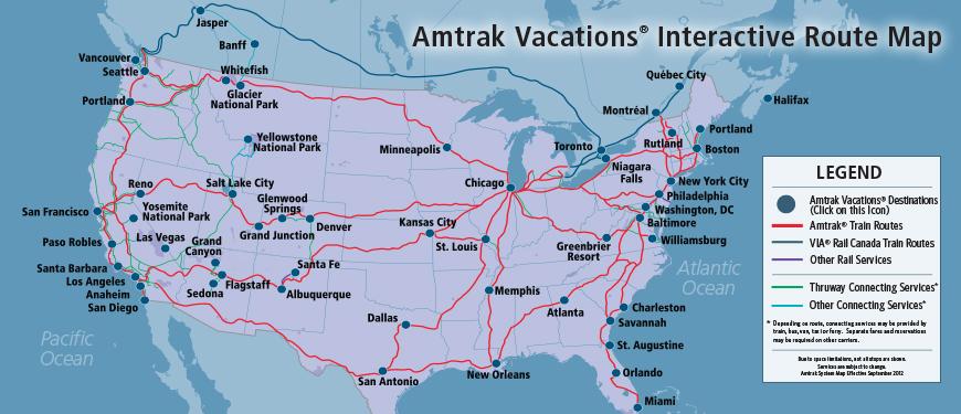 Amtrak destinations-map