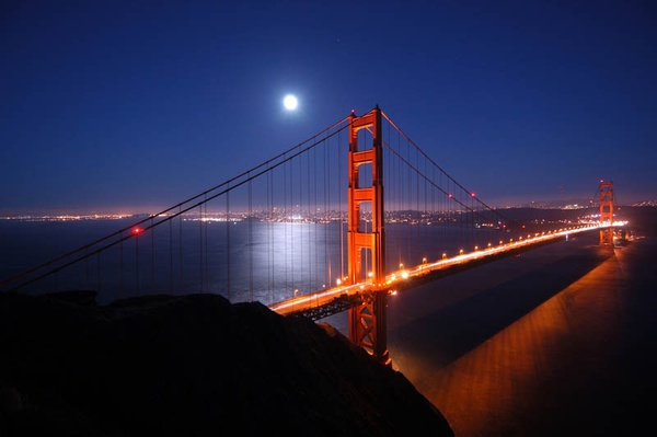 US CA San Francisco Golden Gate Bridge night